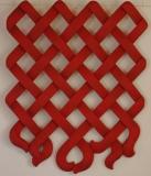 DESTINS CROISES Opus I - Tilleul - patine rouge de chine - 83 * 62 cm - sculpté recto/verso - 2009