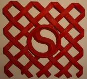 DESTINS CROISES Opus II - Tilleul - patine rouge de chine - sculpté recto/verso - 2010