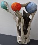 Planètes Opus III - Polychrome sur bois de noyer