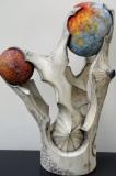 Planètes Opus II - Polychrome sur bois de noyer