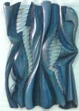 LA DECHIRURE - Patine vieux jean sur bois de châtaigner - 89 * 63 * 6 cm - 2014