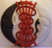 """DESTINS CROISES Opus V - """"Le Fil du Destin"""" - Polychrome sur bois de châtaigner - patine rouge/noir/blanc acrylique - sculpté recto/verso - 107 * 95 * 7 cm - 2014"""