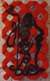 """Collection Privée - DESTINS CROISES Opus IV - """"Chéou Sing"""" - Châtaigner - patine rouge de chine - sculpté recto/verso -85 * 50 cm - 2013"""