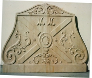 Bois ayant servi de moulage d'une plaque de cheminée du Château de Lauzun (Lot & Garonne)